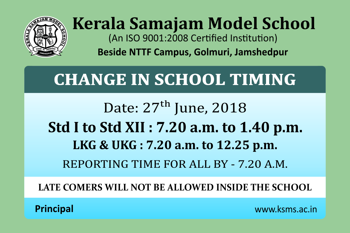 Change in School Timing - from 27th June 2018