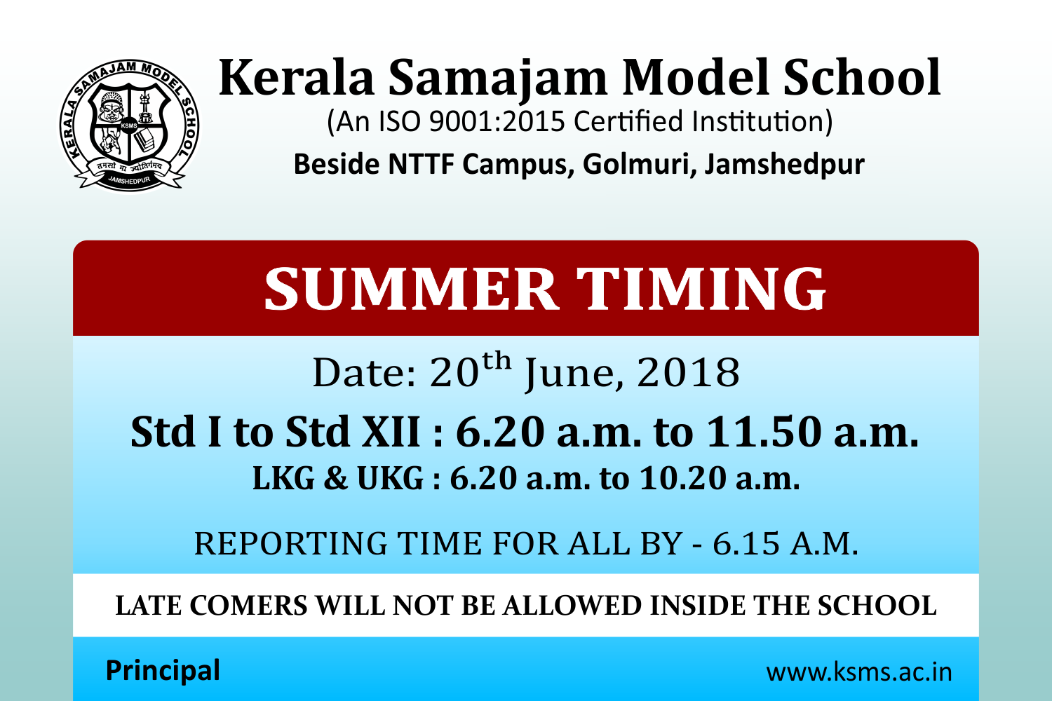Change in School Timing – 20th June 2018