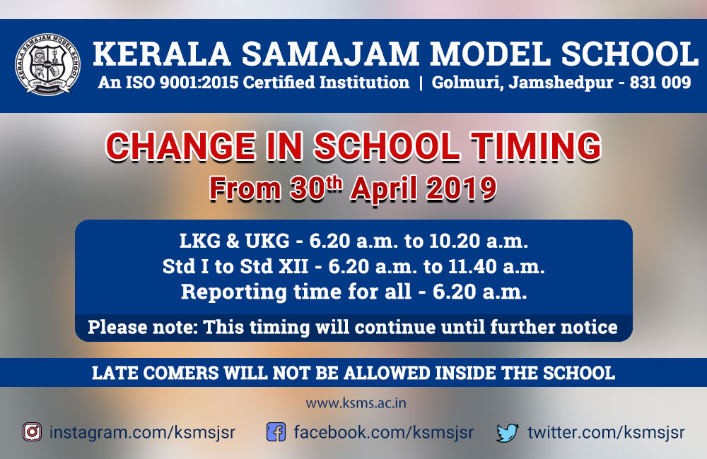 Change in School timing – from 30th April, 2019